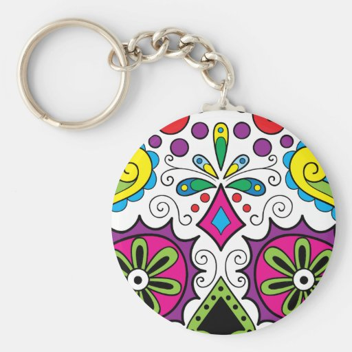 "Colorful ""Dia Des Los Muertos"" Products Keychains"