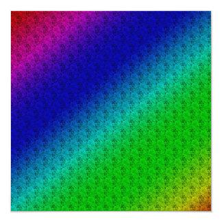 Colorful Diagonal Stripes and Flowers 13 Cm X 13 Cm Square Invitation Card