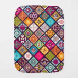 Colorful diamond tiled mandalas floral pattern burp cloth