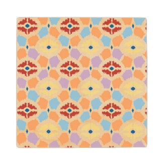 Colorful diamonds ikat geometric maple wood coaster