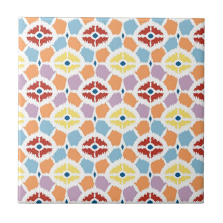 Colorful diamonds ikat geometric tile