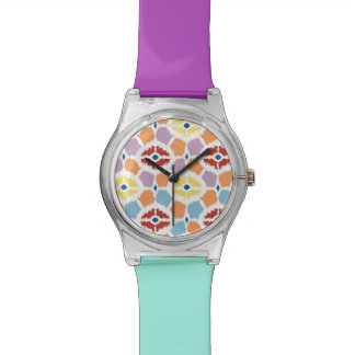 Colorful diamonds ikat geometric watch