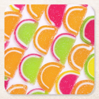 Colorful Different Jelly Candy Square Paper Coaster