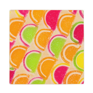 Colorful Different Jelly Candy Wood Coaster