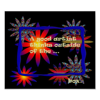 Colorful Digital Flowers and Frame Print