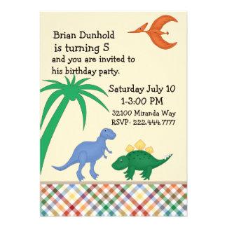 Colorful Dinosaur Birthday Party Invitation