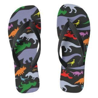 Colorful Dinosaur Pattern (Dark) Flip Flops