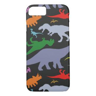 Colorful Dinosaur Pattern (Dark) iPhone 7 Case