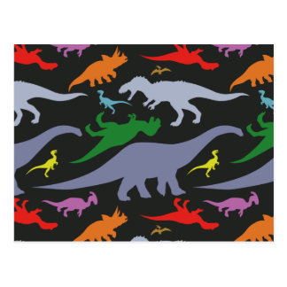 Colorful Dinosaur Pattern (Dark) Postcard