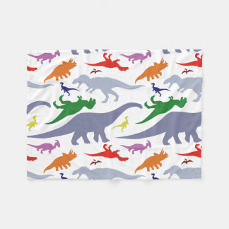 Colorful Dinosaur Pattern (Light) Fleece Blanket