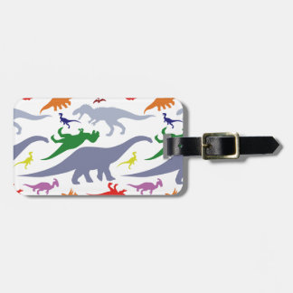 Colorful Dinosaur Pattern (Light) Luggage Tag