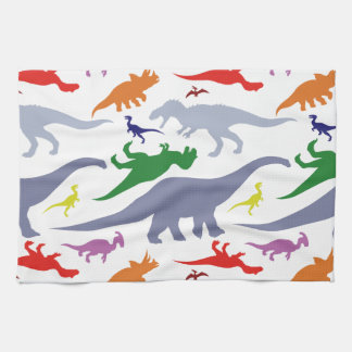Colorful Dinosaur Pattern (Light) Tea Towel