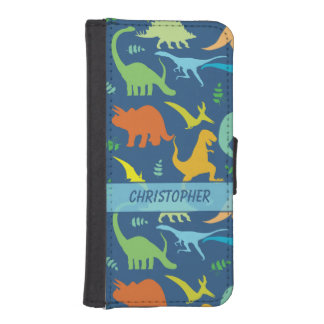 Colorful Dinosaur Pattern to Personalize iPhone SE/5/5s Wallet Case