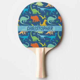 Colorful Dinosaur Pattern to Personalize Ping Pong Paddle