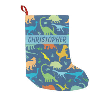Colorful Dinosaur Pattern to Personalize Small Christmas Stocking
