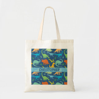 Colorful Dinosaur Pattern to Personalize Tote Bag
