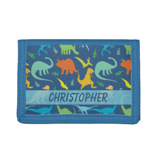 Colorful Dinosaur Pattern to Personalize Tri-fold Wallets