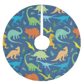 Colorful Dinosaur Pattern Brushed Polyester Tree Skirt