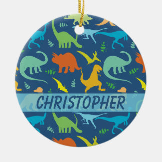 Colorful Dinosaur to Personalize Round Ceramic Decoration