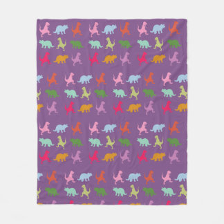 Colorful Dinosaurs Fleece Blanket, Medium