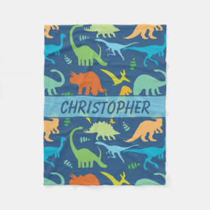 d41fee5953 Colorful Dinosaurs Personalized Fleece Blanket