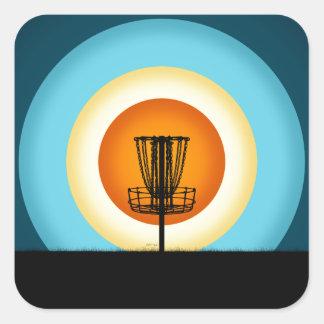 Colorful Disc Golf Basket Square Sticker