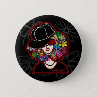 colorful diva 6 cm round badge
