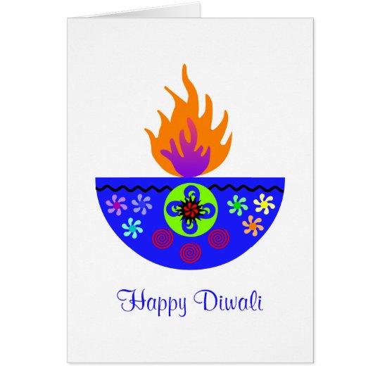Colorful Diwali Lamp Diya Card