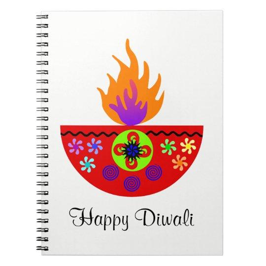 Colorful Diwali Lamp Diya Notebook