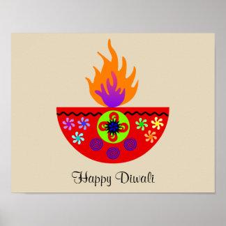 Colorful Diwali Lamp Diya Poster