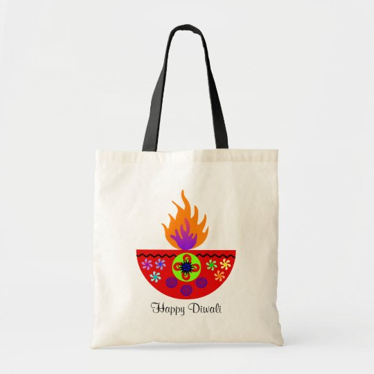 Colorful Diwali Lamp Diya Tote Bag