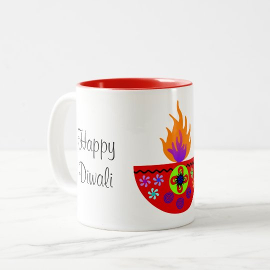 Colorful Diwali Lamp Diya Two-Tone Coffee Mug