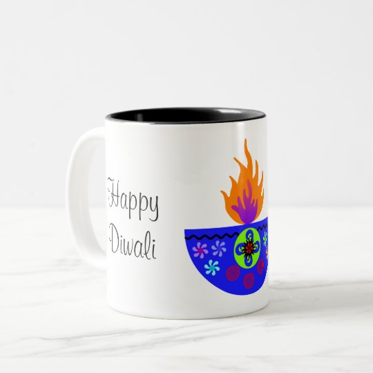 Colorful Diwali Lamp Diya Two-Tone Coffee Mug