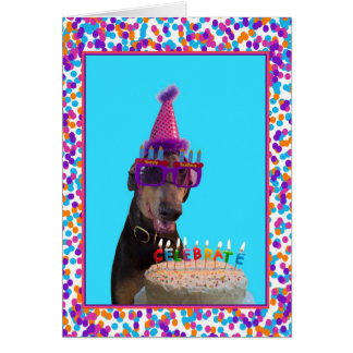 Colorful Doberman Birthday Celebration Cake Card