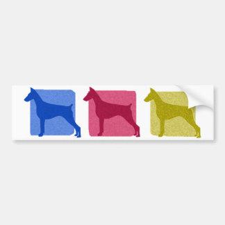 Colorful Doberman Pinscher Silhouettes Bumper Sticker