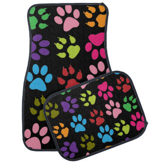 Colorful Dog Paw Prints Car Mat