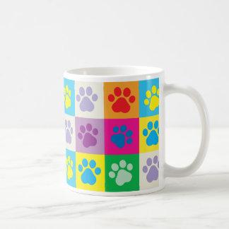 Colorful Dog Paws Patchwork Pattern Coffee Mug