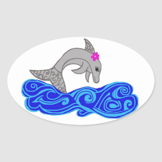 Colorful Dolphin jumping Stickers