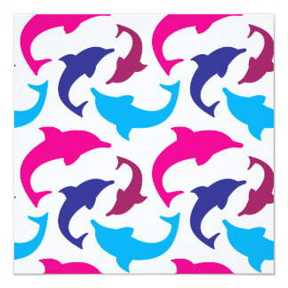 Colorful Dolphins Pattern Hot Pink Teal Blue Card