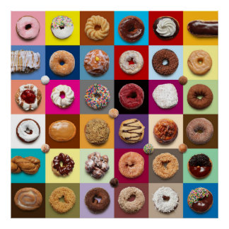 Colorful Donuts square poster