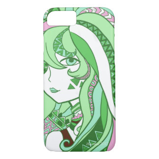 Colorful Doodle Design Cartoon Girl Green iPhone 8/7 Case