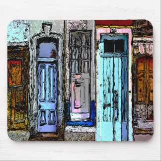 Colorful Doors Collage Mouse Pad