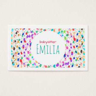 Colorful Dot Sketch Babysitter Business Card