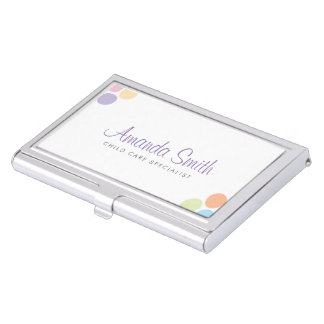 Colorful Dots Child Care Babysitting Coordinating Business Card Holder