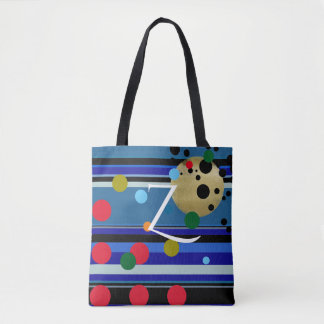 colorful dots, stripes and custom initial tote bag