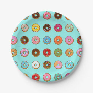 Colorful Doughnuts Paper Plate