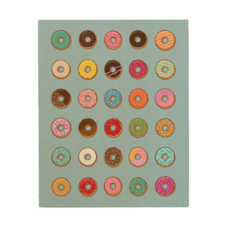 Colorful Doughnuts Wood Canvas