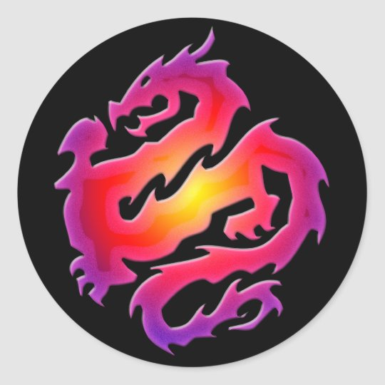 COLORFUL DRAGON CLASSIC ROUND STICKER