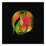 COLORFUL DRAGON IN FULL MOON ~ PARTY INVITATION