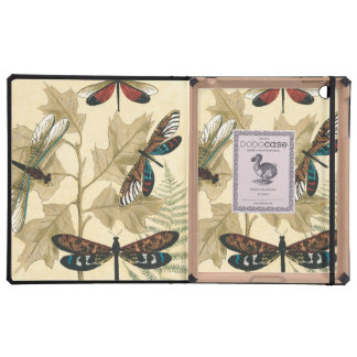 Colorful Dragonflies Floating Above Leaves Cover For iPad